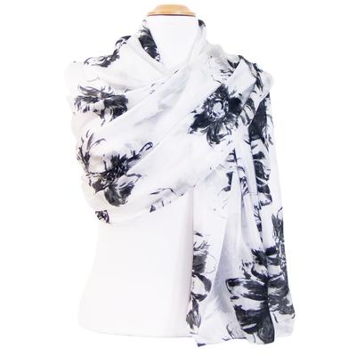 Etole femme soie blanche fleurs Ondine