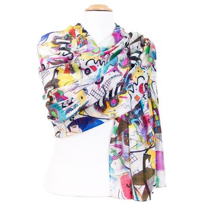 Etole soie blanche et multicolore artiste