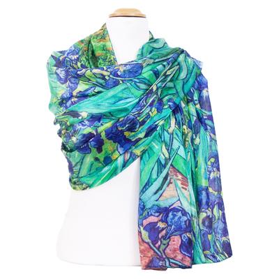 Etole femme soie bleu fleurs iris