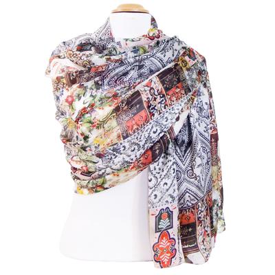 Etole femme en soie fleurs patchwork