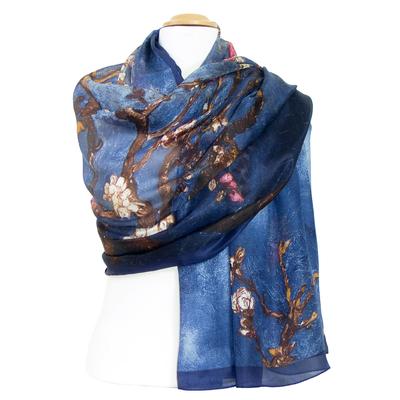 Etole en soie bleu marine Eliza