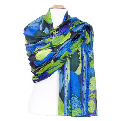 Etole en soie fleurs vert bleu Inés