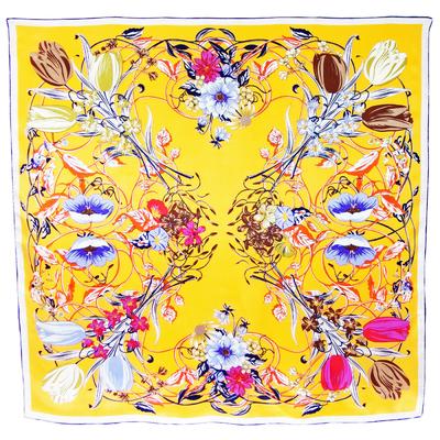 Carré de soie jaune tulipes 110 x 110 cm premium