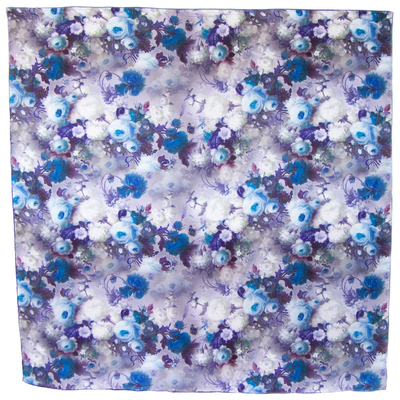 Carré de soie bleu roses 110 x 110 cm premium