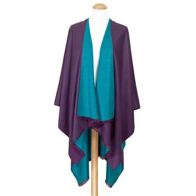Poncho violet bleu canard réversible