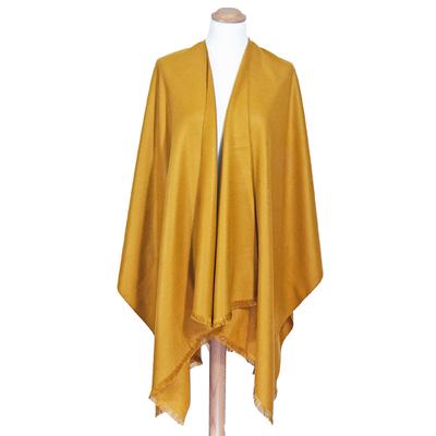 Poncho jaune moutarde uni