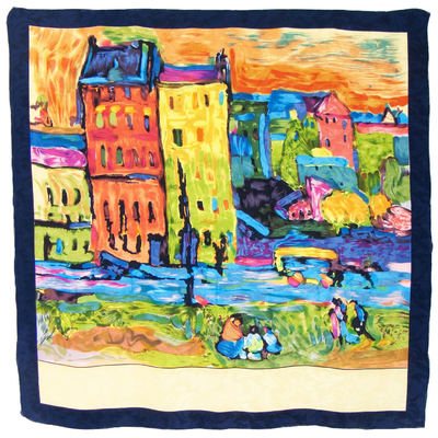 Foulard en soie carré artysilk Case à Monaco Kandinsky