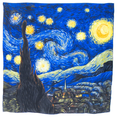 Foulard en soie carré artysilk Nuit étoilée Van Gogh