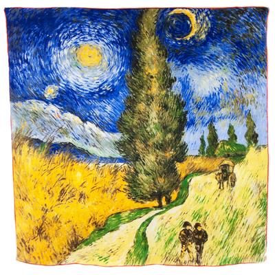 Foulard en soie carré artysilk Route avec cyprés Van Gogh