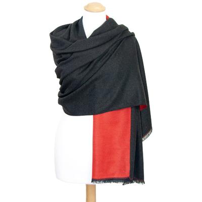 Châle noir rouge réversible