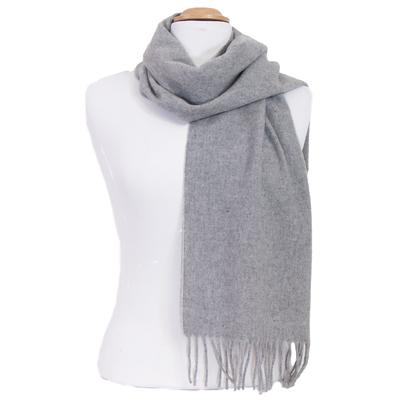 Echarpe gris clair en laine lambswool