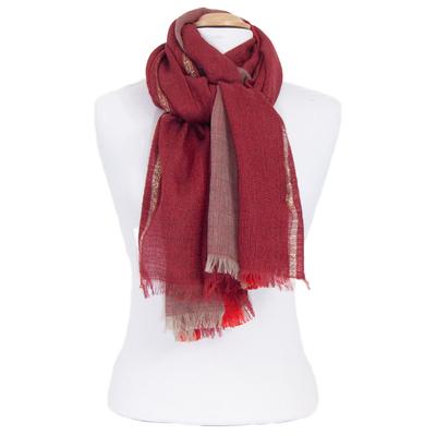 Echarpe laine rouge avec lurex Inés