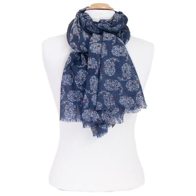 Echarpe laine bleu indigo imprimé cachemire