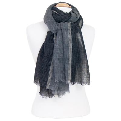 Echarpe laine noir chevrons