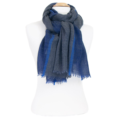 Echarpe laine bleu chevrons