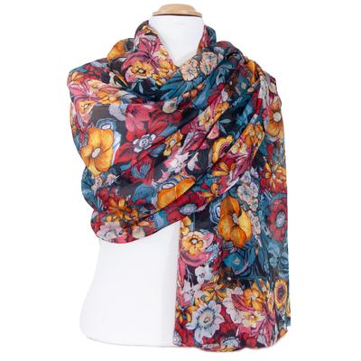 Etole soie fleurie multicolore Joy