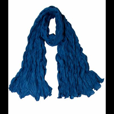 Chèche bleu coton froissé
