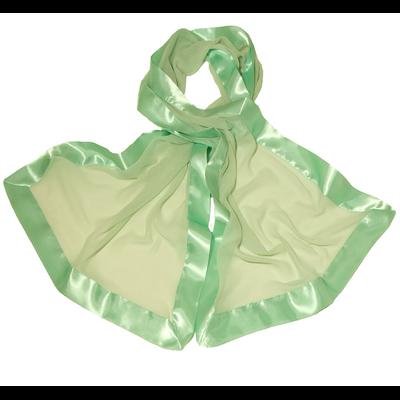 Etole vert tendre en pure soie et bordures satin