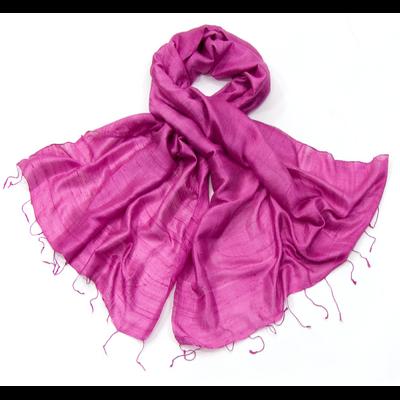 Etole en soie de Thailande rose cyclamen
