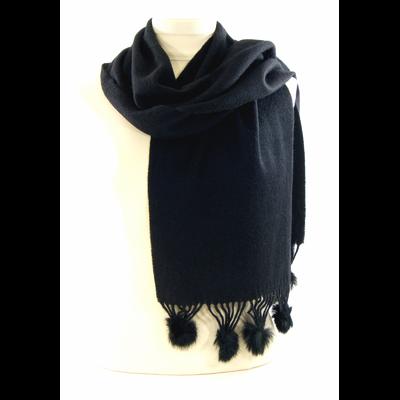 Echarpe noir en laine et fourrure