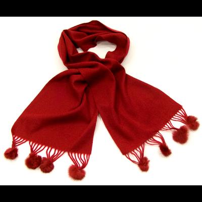 Echarpe rouge foncé en laine pompons fourrure