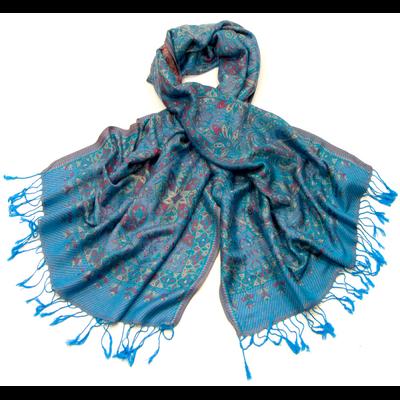 Etole pashmina bleu motifs baroques