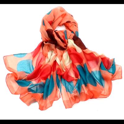 Chèche paréo pois multicolores fond orange