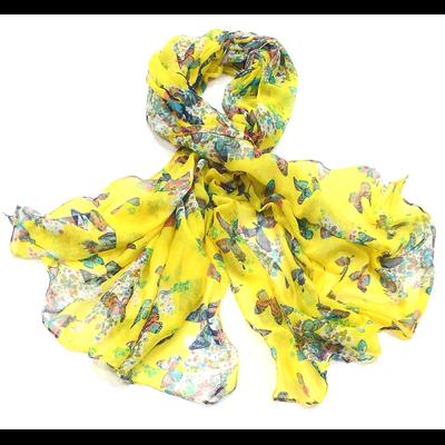 Chèche paréo jaune motifs papillons