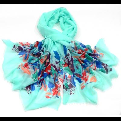 Chèche paréo fleuri bleu vert