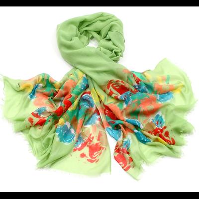 Chèche paréo fleuri vert
