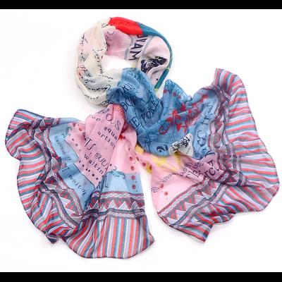 Chèche foulard rose imprimé voyages