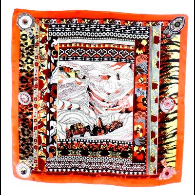 Carré de soie foulard roange fusain 85 x 85 cm