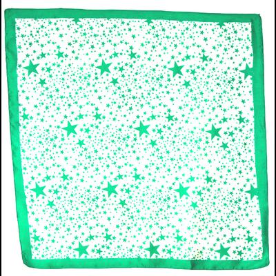 Carré de soie foulard  vert imprimé étoiles 85 x 85 cm