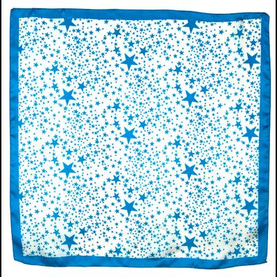 Carré de soie foulard bleu turquoise imprimé étoiles 85 x 85 cm