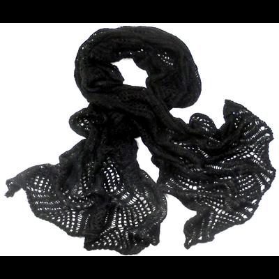 Echarpe noir maille dentelle et fines paillettes