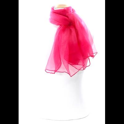 Foulard écharpe mousseline de soie fushia