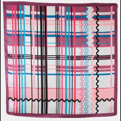carré de soie foulard imprimé graphique violine 85 x 85 cm