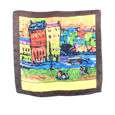 Carré de soie mini foulard imprimé tableau 50 x 50 cm