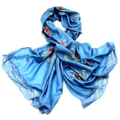 Etole brodée fleurs ninel bleu