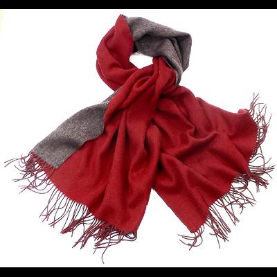 Etole en laine deux faces rouge et gris