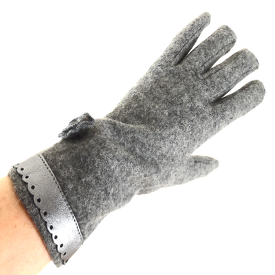 Gants pour femmes en laine grise galon style cuir TU