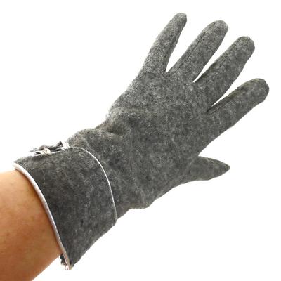 Gants laine gris revers et boutons TU