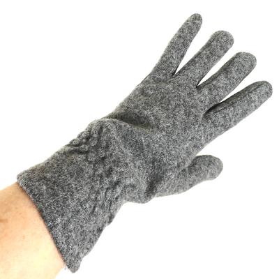 Gants en laine gris pour femmes avec fronces TU