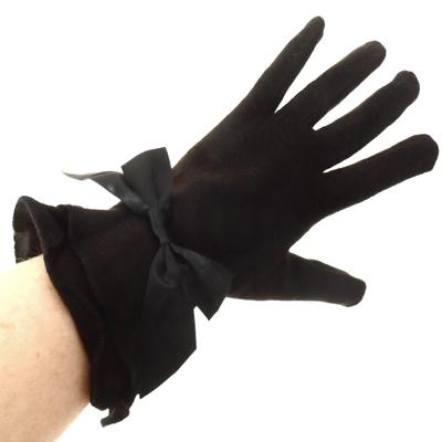 Gants en laine noir larges volants pour femmes TU