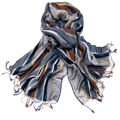 Etole pashmina à rayures camaïeu gris