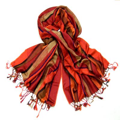 Etole pashmina à rayures rouge