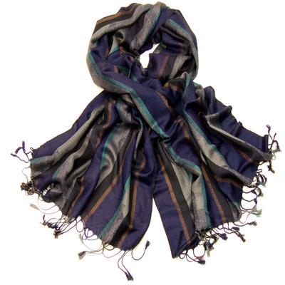 Etole pashmina violet à rayures et motifs