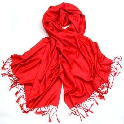 Etole pashmina rouge tissage damassé