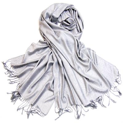 Etole pashmina gris perle tissage damassé