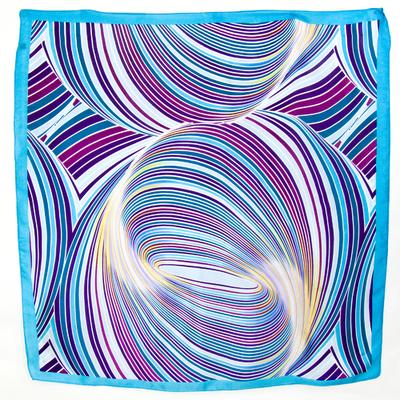 Carré de soie foulard bleu style vintage 70 85 x 85 cm